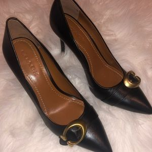 Authentic Coach Varick Black Leather Pumps Heels